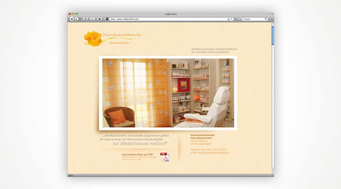 Webvisitenkarte Naturkosmetik Petra Breidenbach