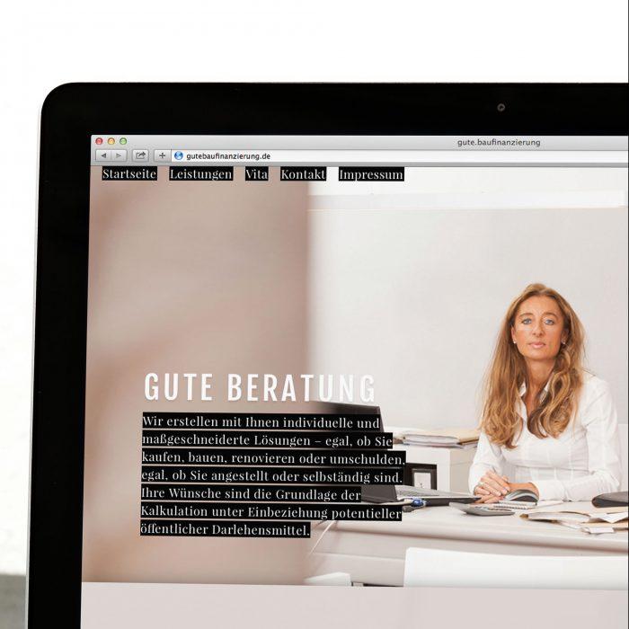 Gute Baufinanzierung Webdesign Mockup jos büro für Gestaltung Würzburg