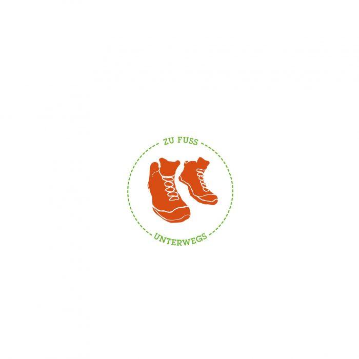 Zu Fuß unterwegs Logo Markenkreation Reiseblog jos büro für Gestaltung Würzburg