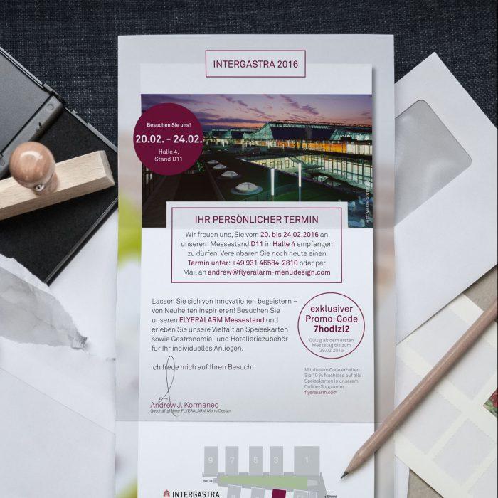 Flyeralarm Menu Design Selfmailer Intergastra 2016 Print jos büro für Gestaltung Würzburg