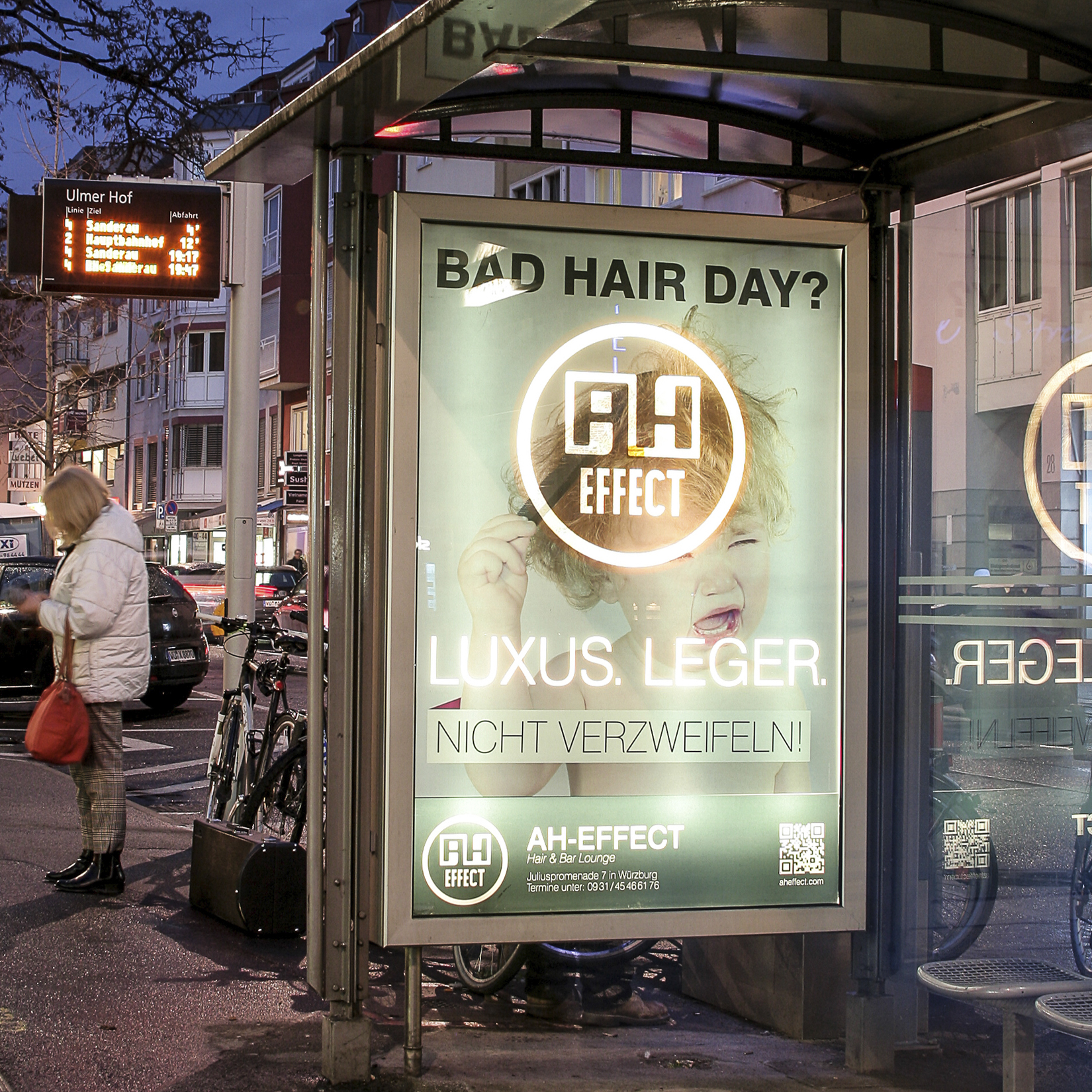 AH-Effect Friseur CityLight Kampagne German Design Award 2015 Würzburg