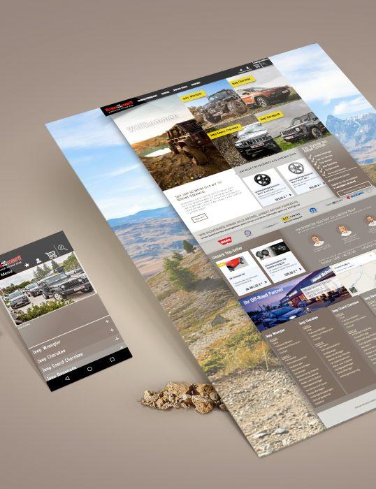 Allrad Schmitt Webdesign Mockup jos büro für Gestaltung Würzburg