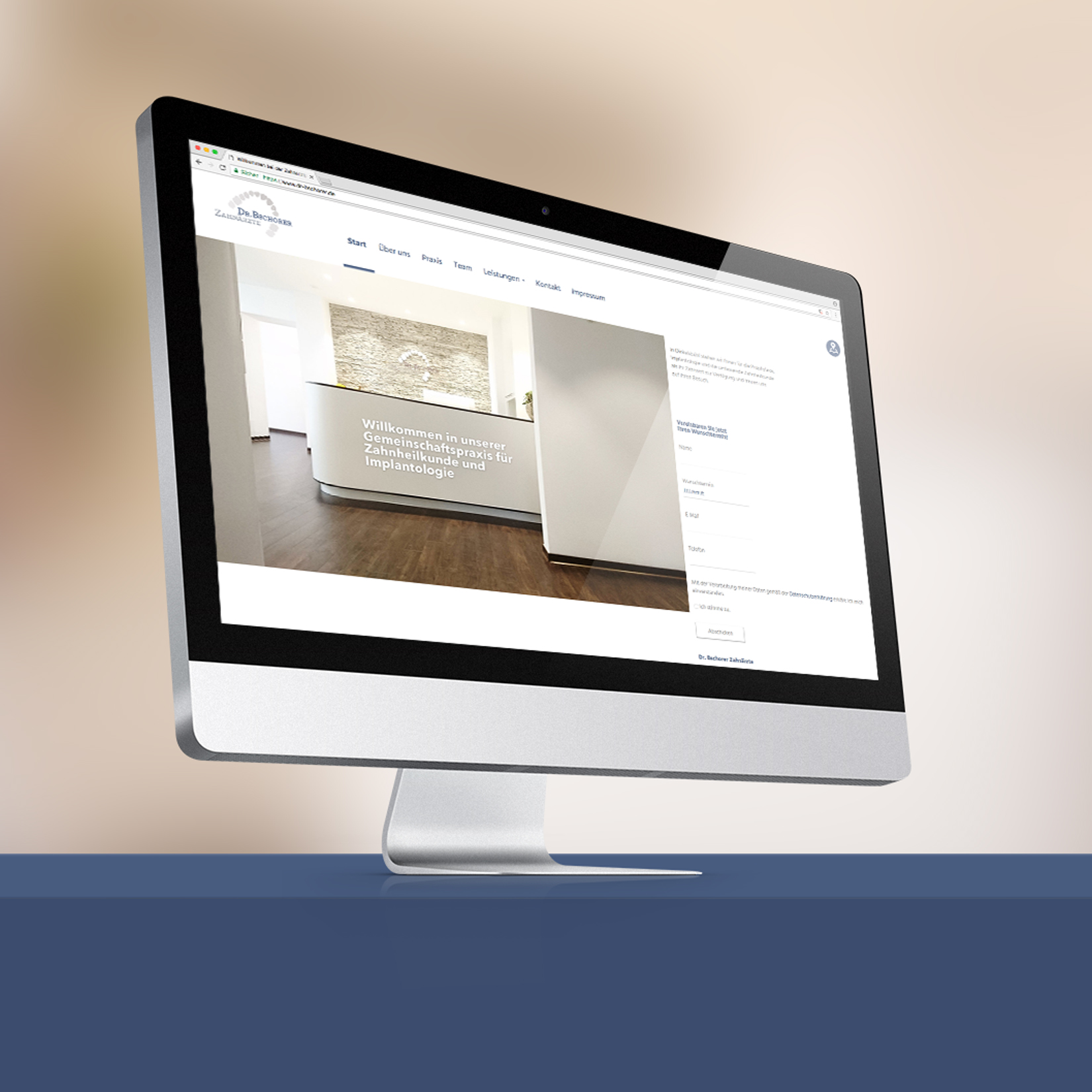 Zahnarztpraxis Dr. Bschorer Webdesign Mockup jos büro für Gestaltung Designbüro Würzburg