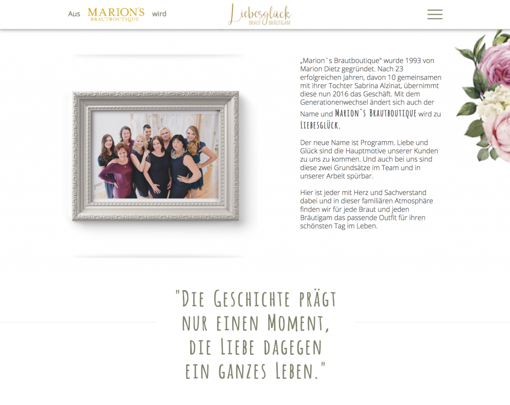Webdesign Würzburg Brautmode Brautkleider