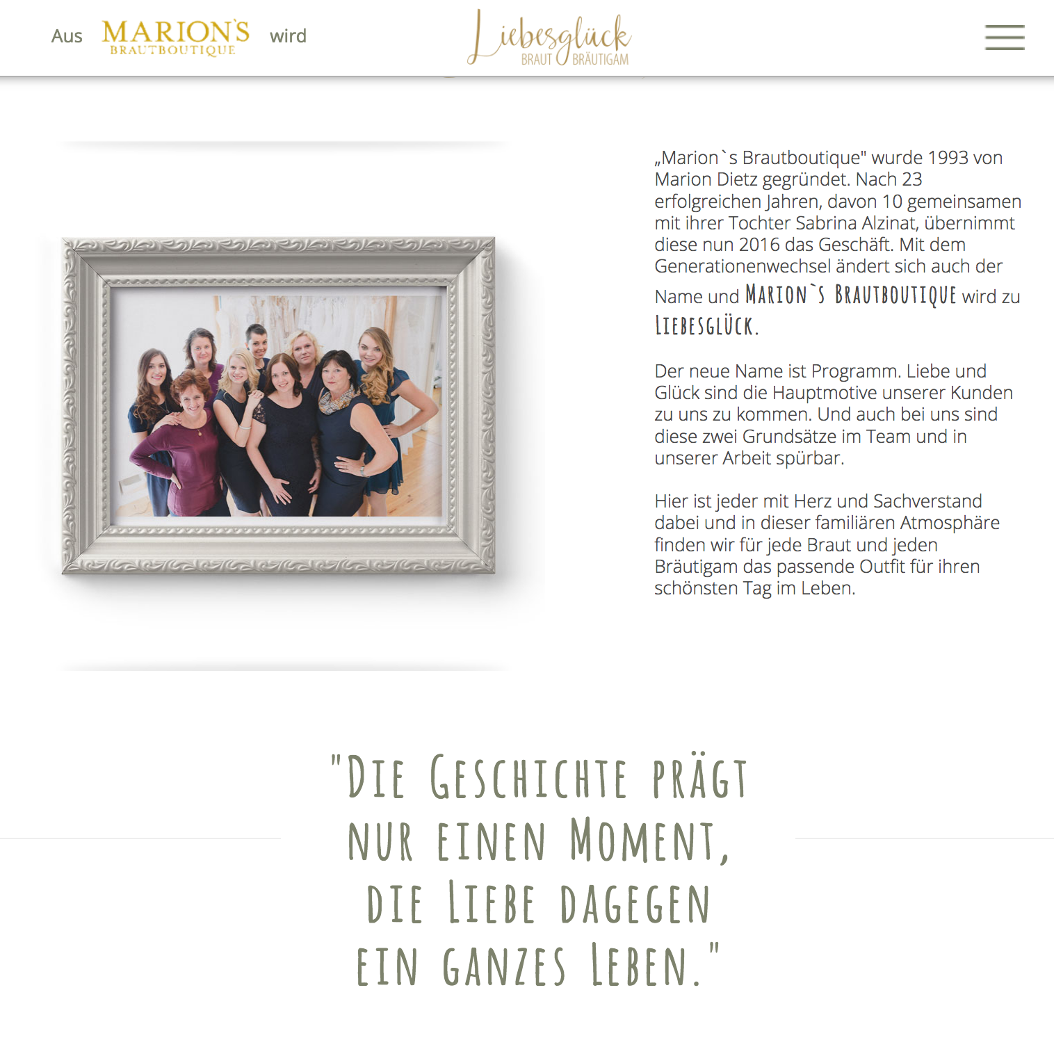 Webdesign Würzburg Brautmode Brautkleider Liebesglück