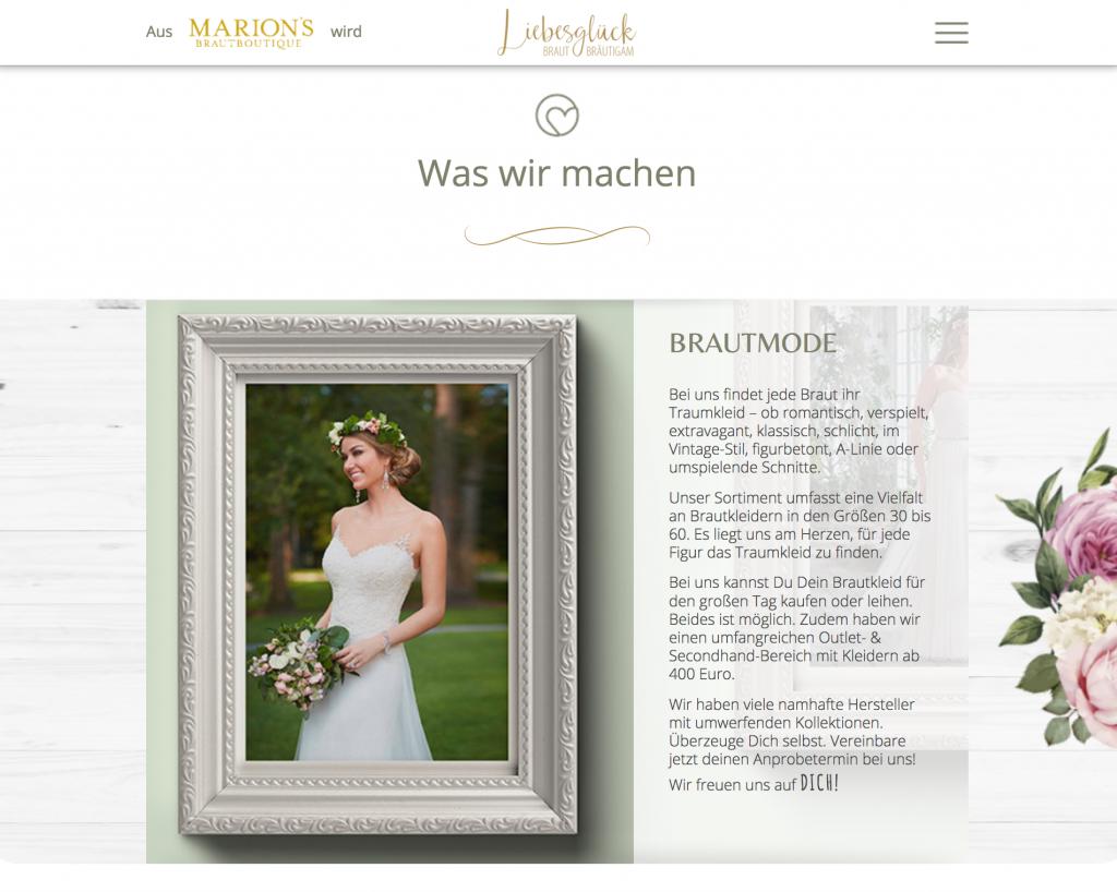 Brautmode Würzburg Webdesign Gestaltung