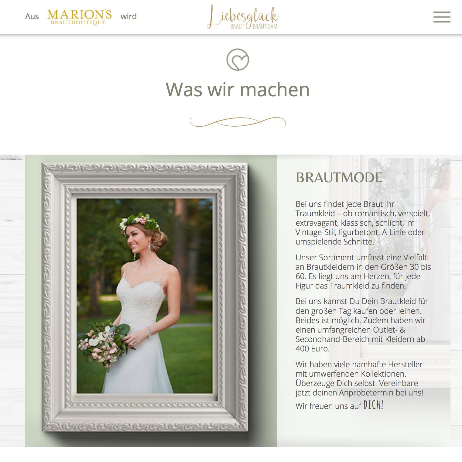 Brautmode Würzburg Webdesign Gestaltung Liebesglück