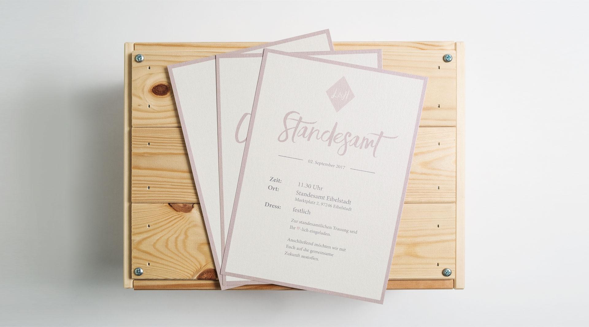 Hochzeitskarte Einladung Design Würzburg