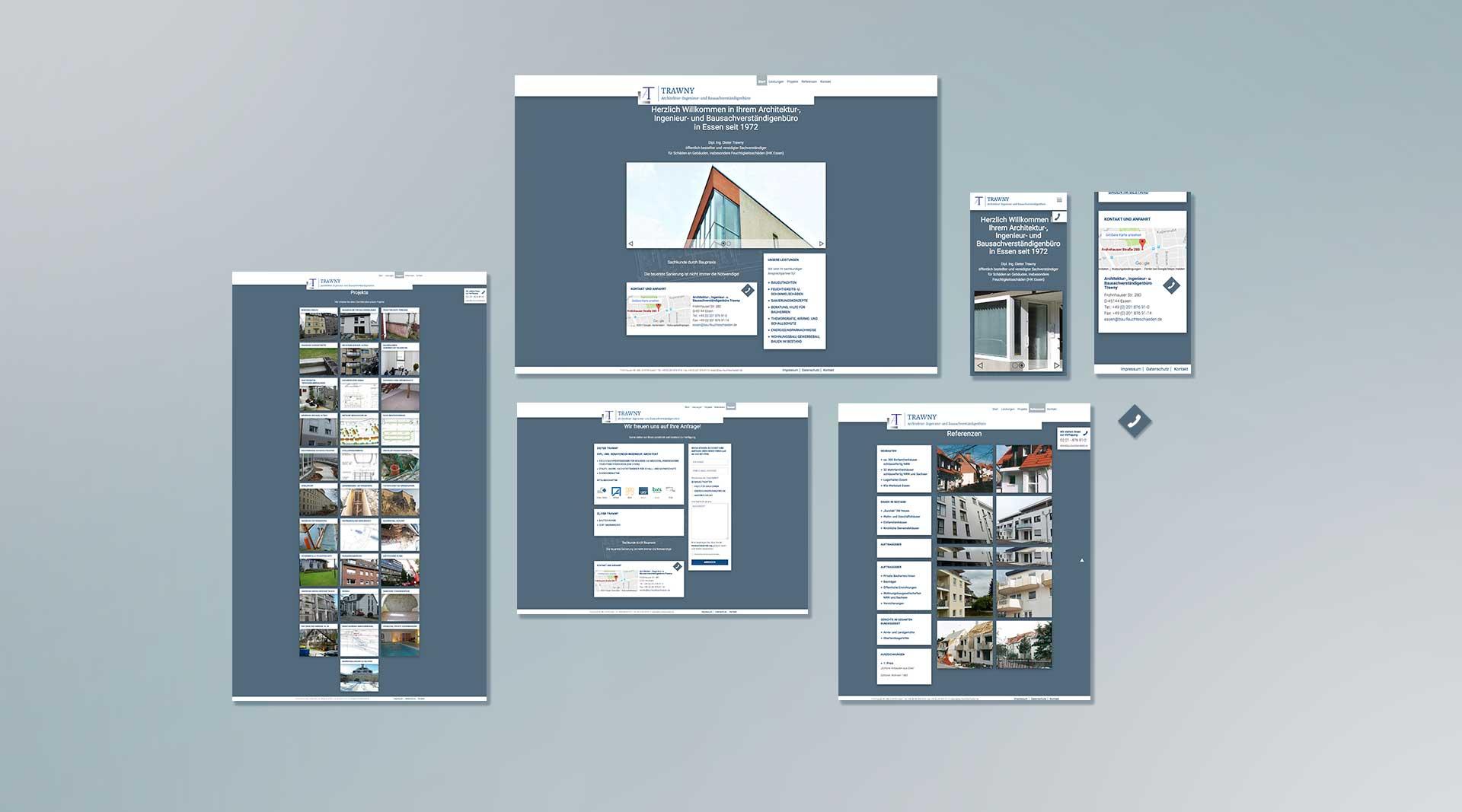 Webdesign Trawny Baugutachten Relaunch Screendesign