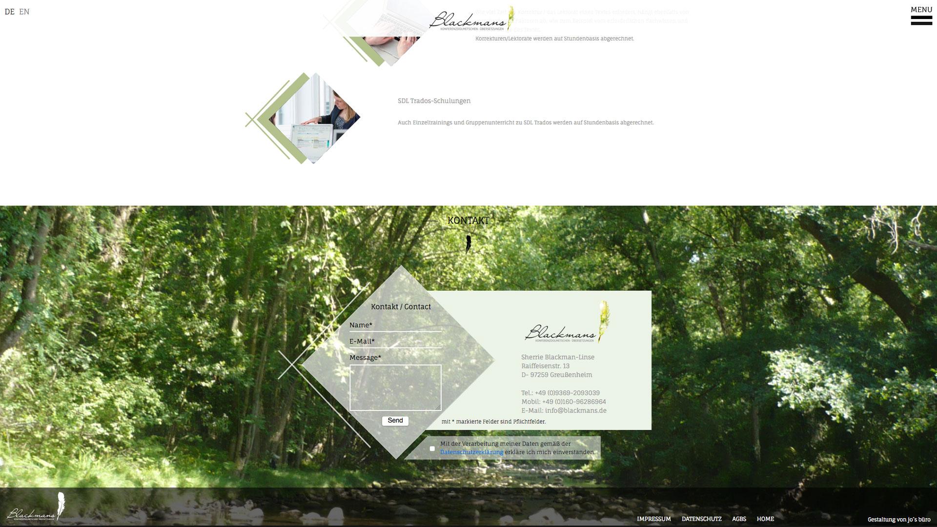 Blackmans Webdesign Würzburg jos büro für Gestaltung