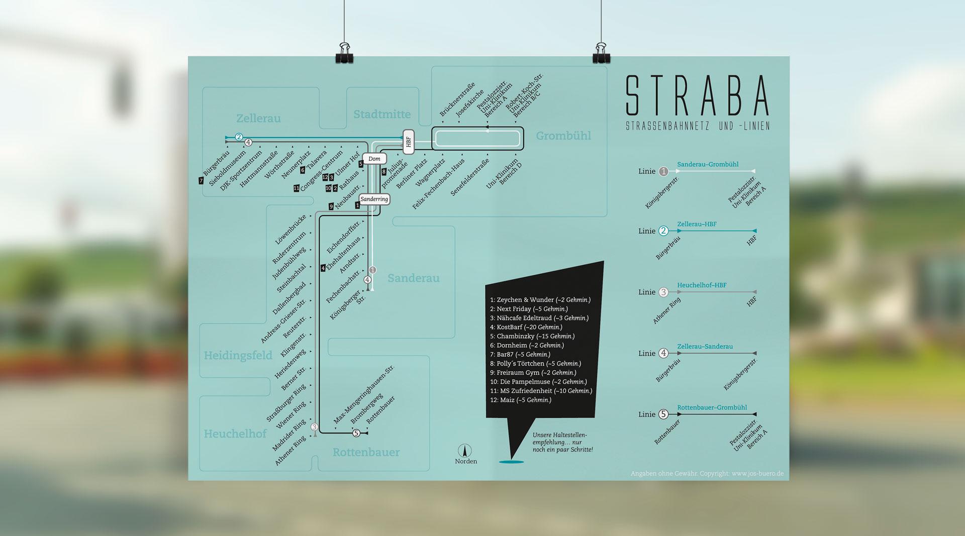 Würzburg Kärdle Straba-Plan Bahnhof alternative Stadtkarte jos büro für Gestaltung