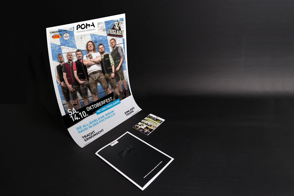 Posthalle Geschäftsausstattung Kommunikationsmittel Plakate Flyer Webdesign Corporate Design jo's büro für Gestaltung