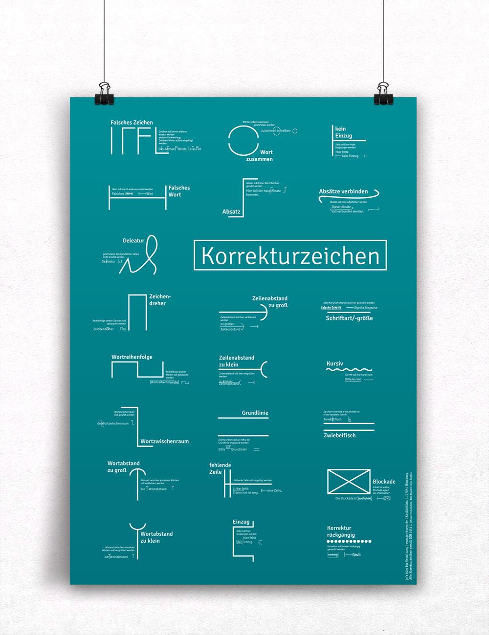 Poster Korrekturzeichen hell, Plakat Detailtypografie