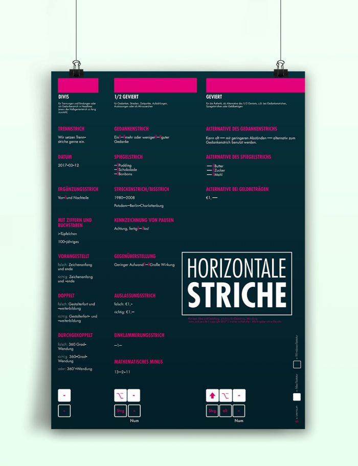 Poster Plakat Detailtypografie Mediengestalter horizontale striche