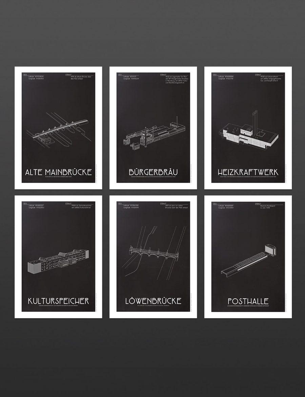 würzburg postkarten illustration set design