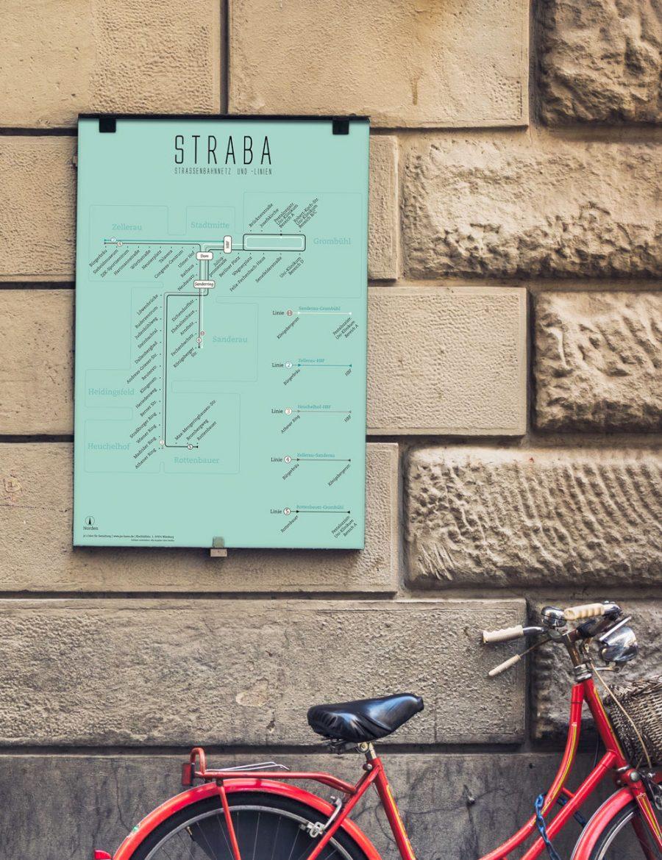 Straßenbahnplan Würzburg, Design Poster Straba Plan