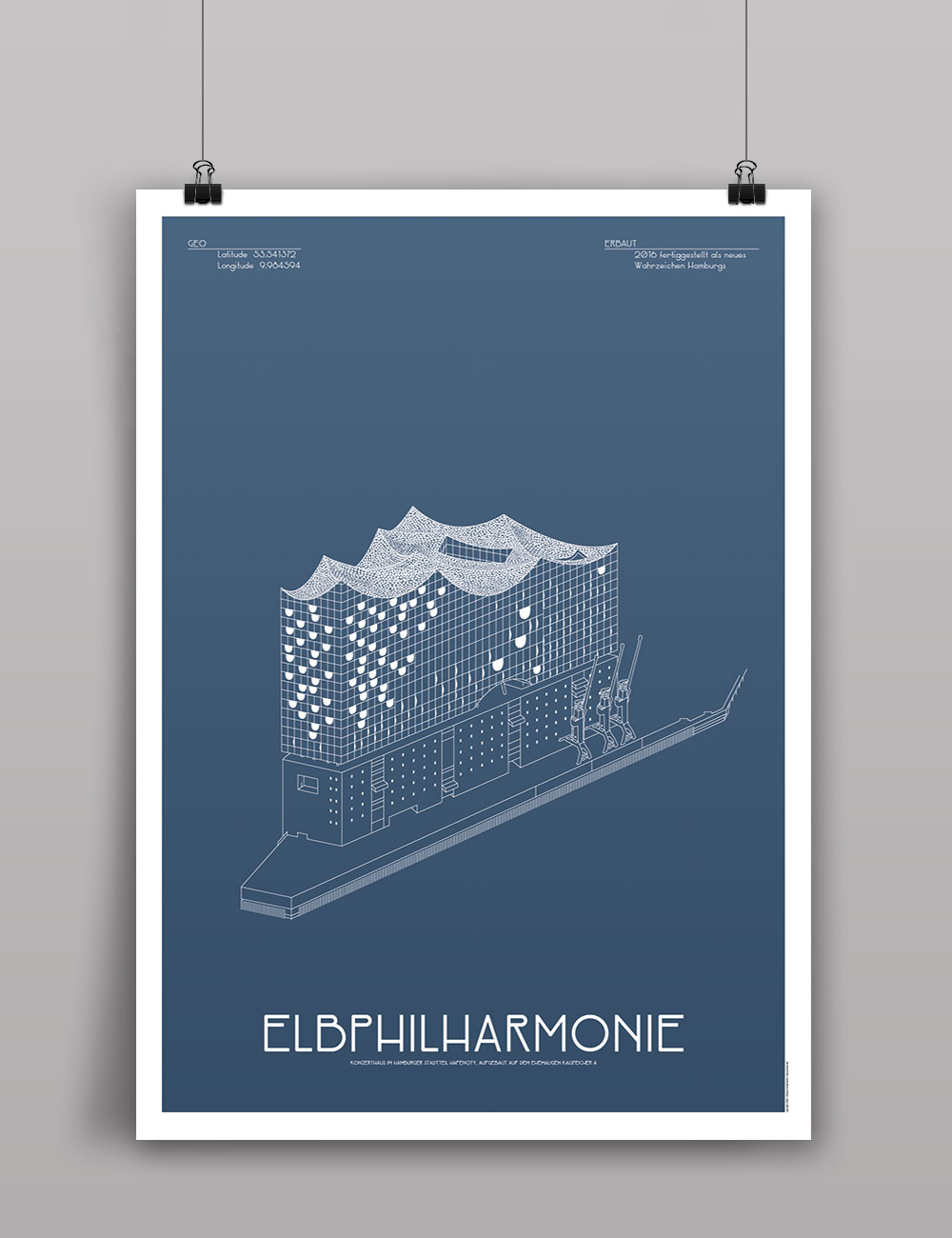elbphilharmonie hamburg poster architektur illustration blau jo 39 s b ro f r gestaltung. Black Bedroom Furniture Sets. Home Design Ideas