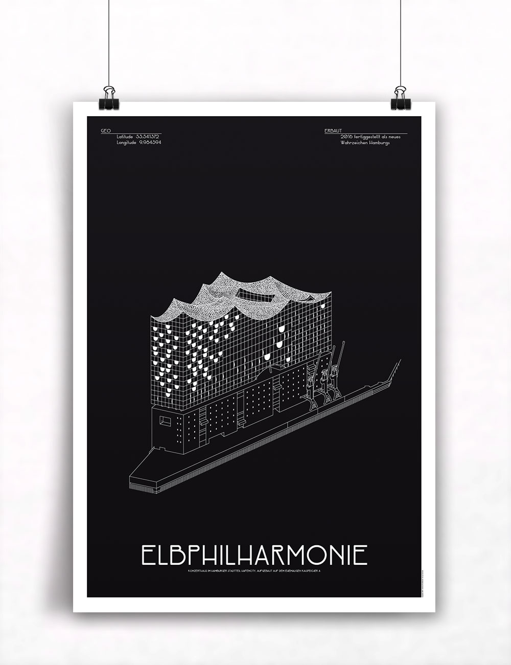 Elbphilharmonie hamburg poster architektur illustration - Schwarz architektur ...