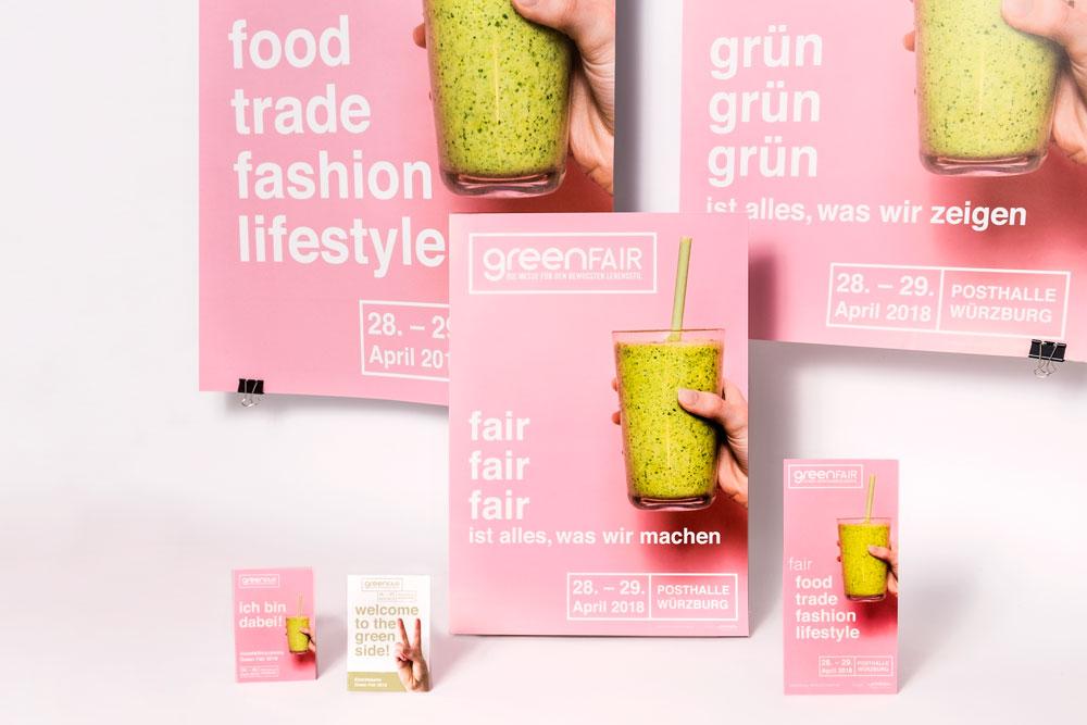 Greenfair Messe Bewusst Leben Kommunikationsmittel Gestaltung jo's büro für Gestaltung Würzburg Messedesign Flyer Plakate