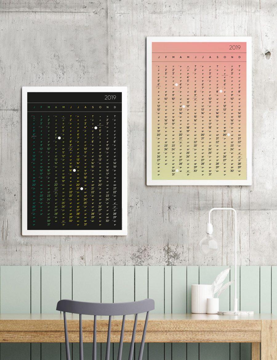 Jahreskalender 2019 Wendekalender Kalender Poster A1 A2 klebepunkte design