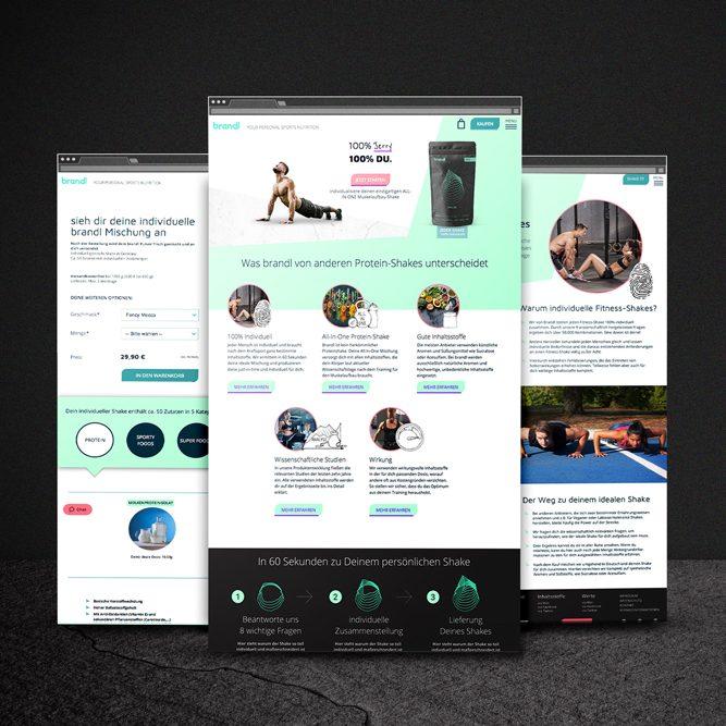 brandl – your personal sports nutrition Corporate Design Packaging Verpackungsdesign Logokreation Markenentwicklung Webdesign Screendesign jo's büro für Gestaltung