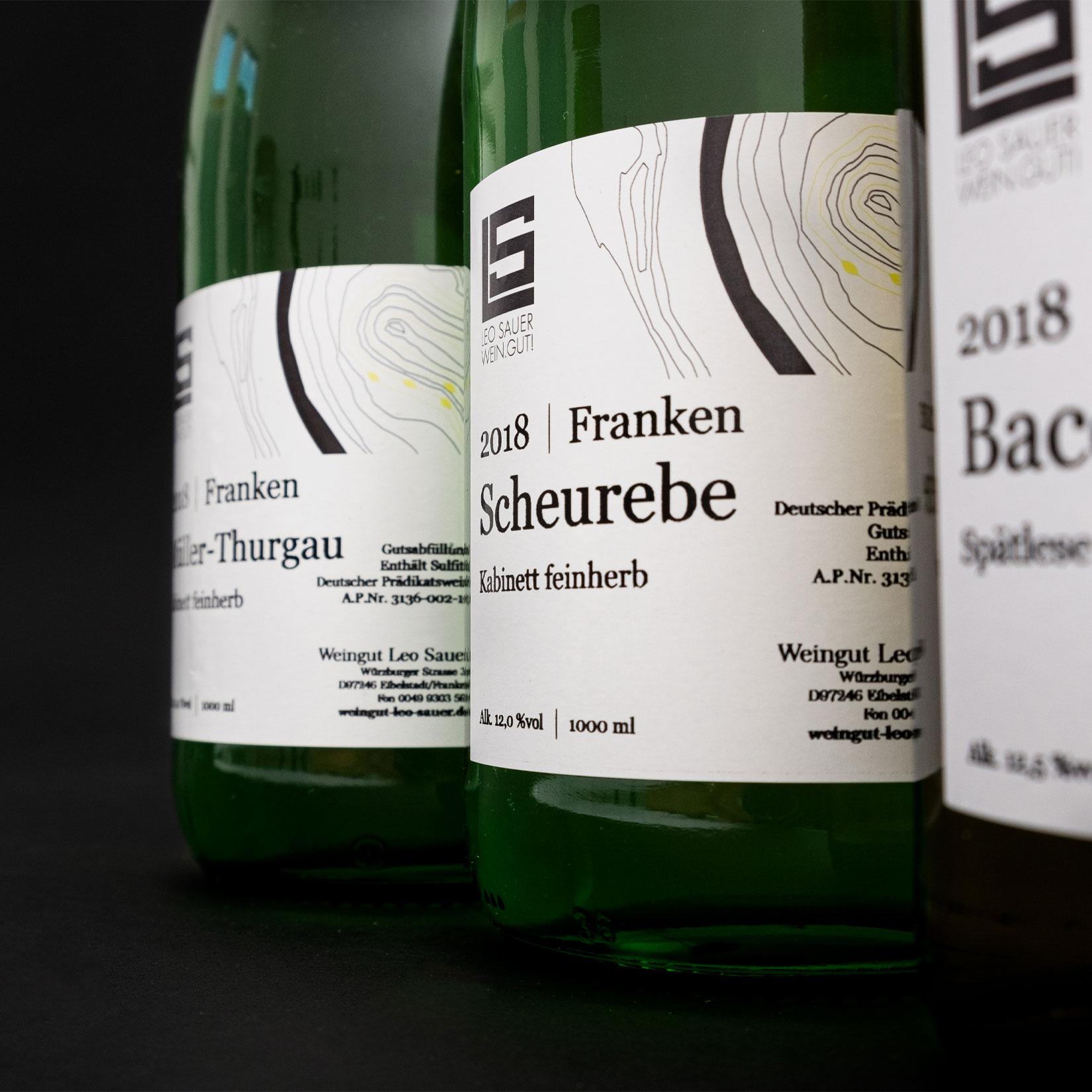 Weinflaschenansicht Label Gestaltung