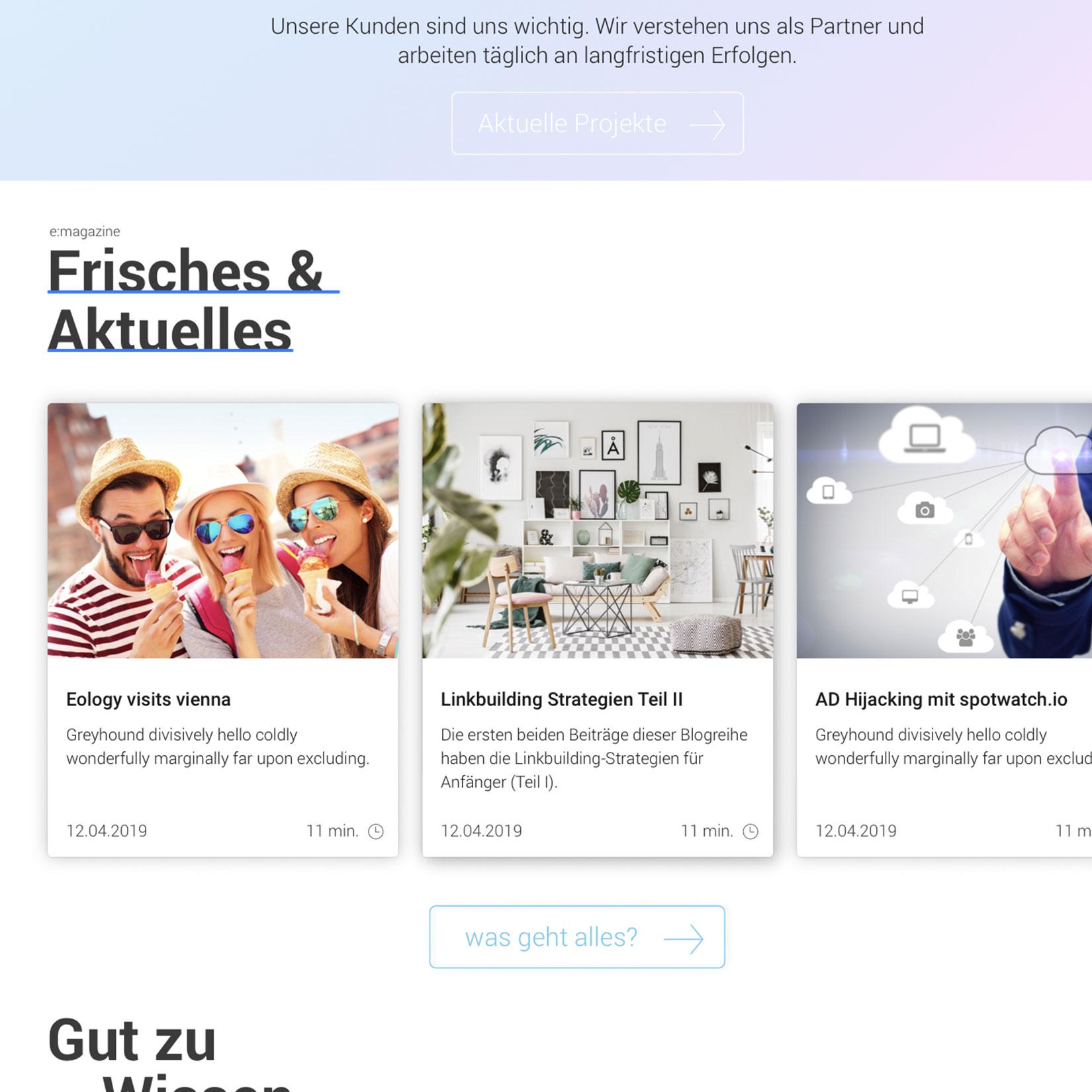 webdesign kacheln