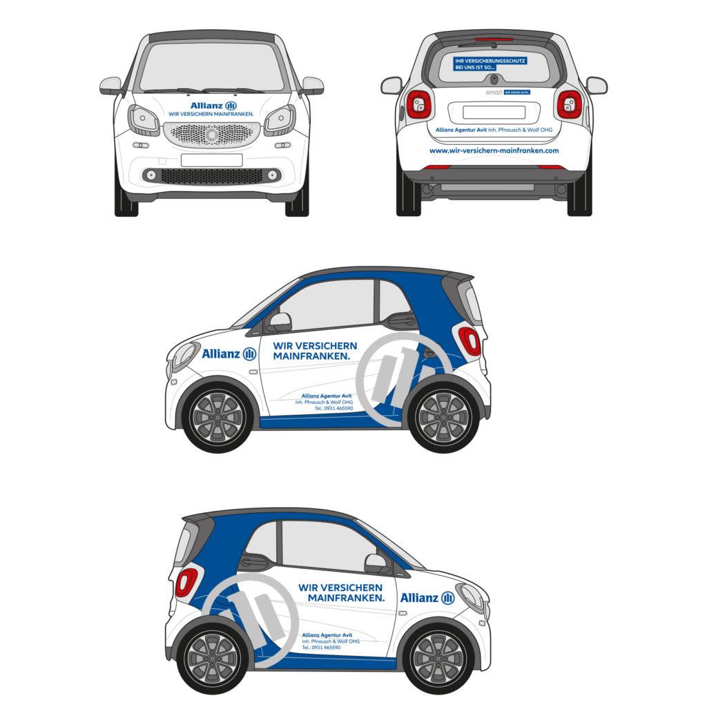 Allianz Autobeklebung Skizze