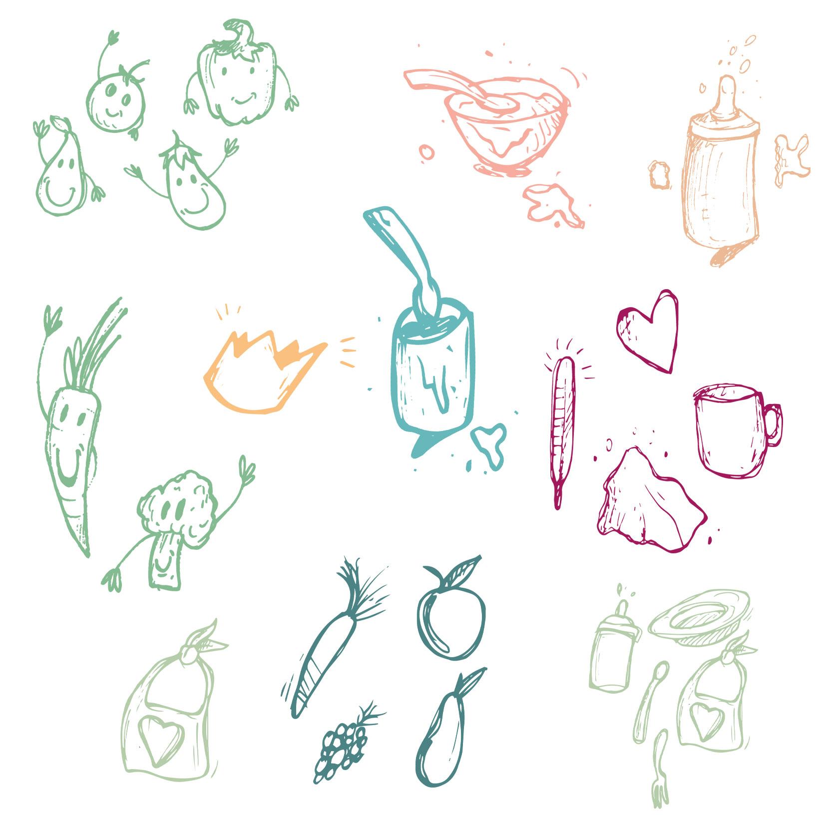 Verspielte Illustrationen, handgemacht passend zum e-Book babywalz