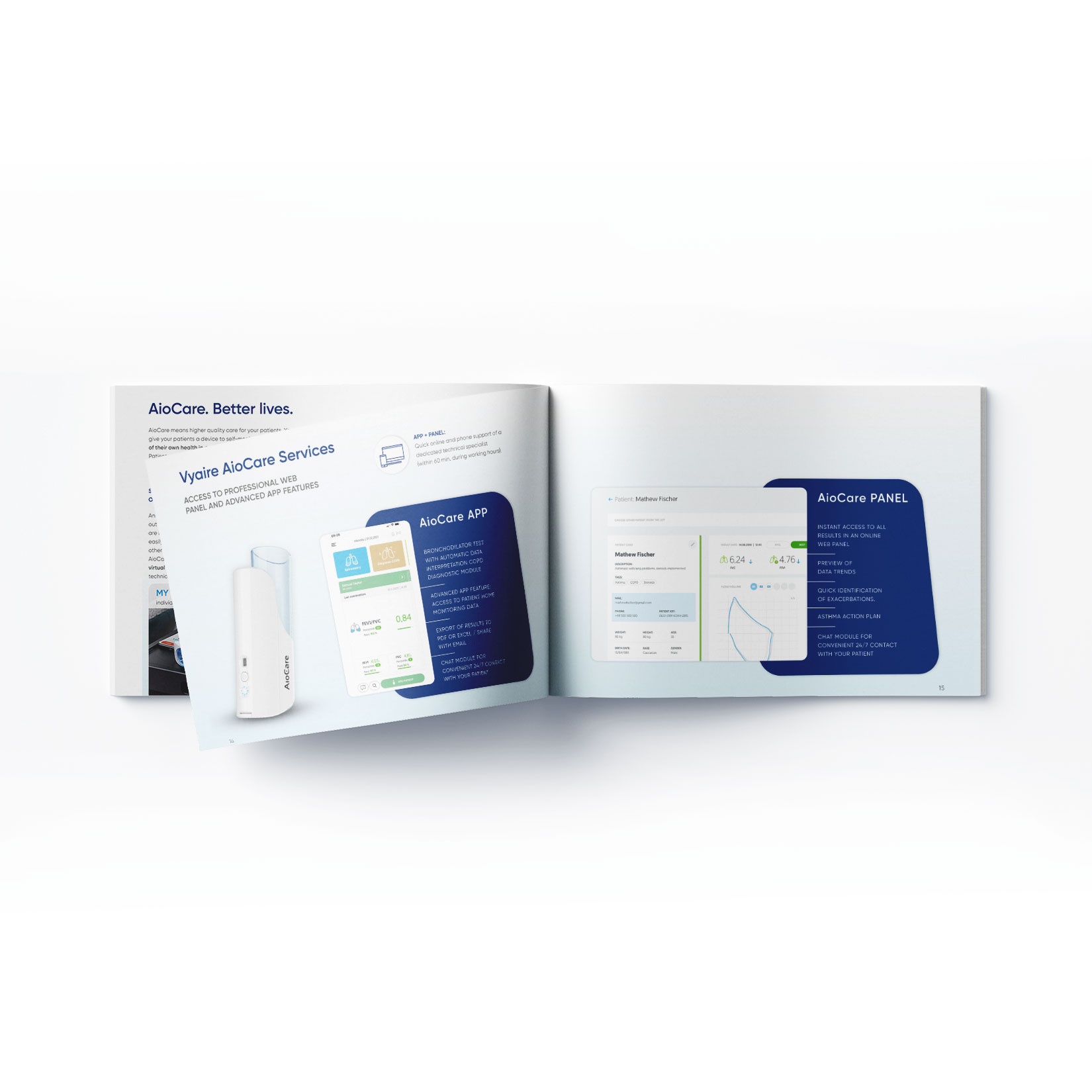 doppelseitige Broschüre für Vyaire Medical AioCare Produktlaunch