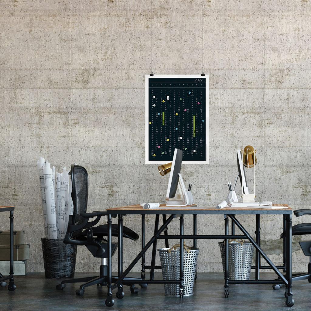 Der Design Kalender 2022 im Büro
